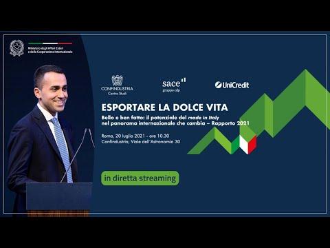 """Intervento del Min. Luigi Di Maio alla presentazione del Rapporto """"Esportare la dolce vita"""""""